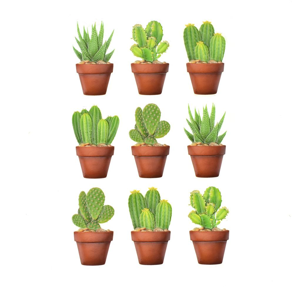 Thorny Succulents 3D Pop-Up Stickers, 9-Piece