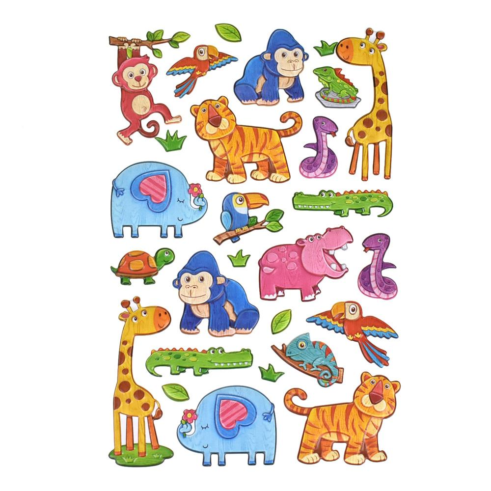 Safari Animal Pals 3D Puffy Stickers, 26-Piece