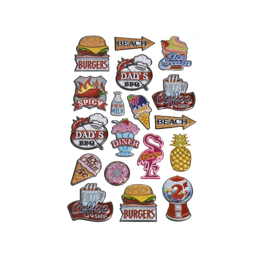 Antique Sign 3D Metallic Stickers, 18-Piece