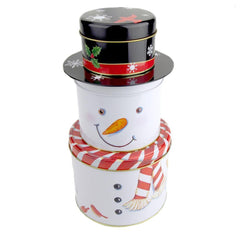 3-Tier Snowman Christmas Tin Box, 10-1/2-Inch