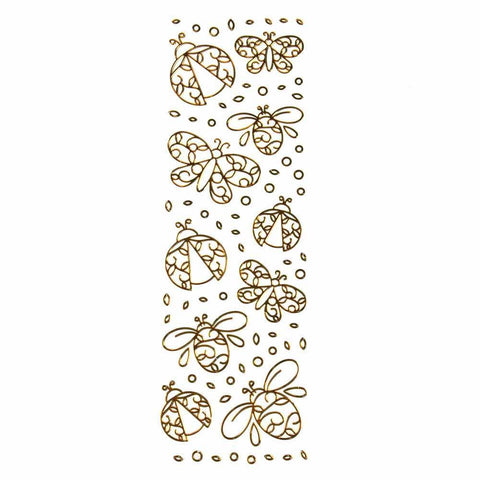 Butterflies Lady Bug 3D Clear Foil Stickers, Gold, 10-Count
