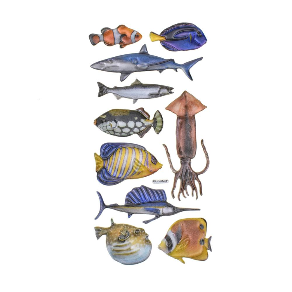 Shimmer Sea Life 3D Animal Stickers, 10-Piece