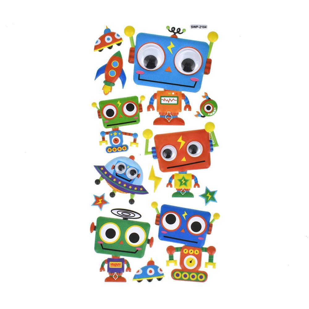 Toy Robot Googly Eye Puffy Stickers, 14-Piece