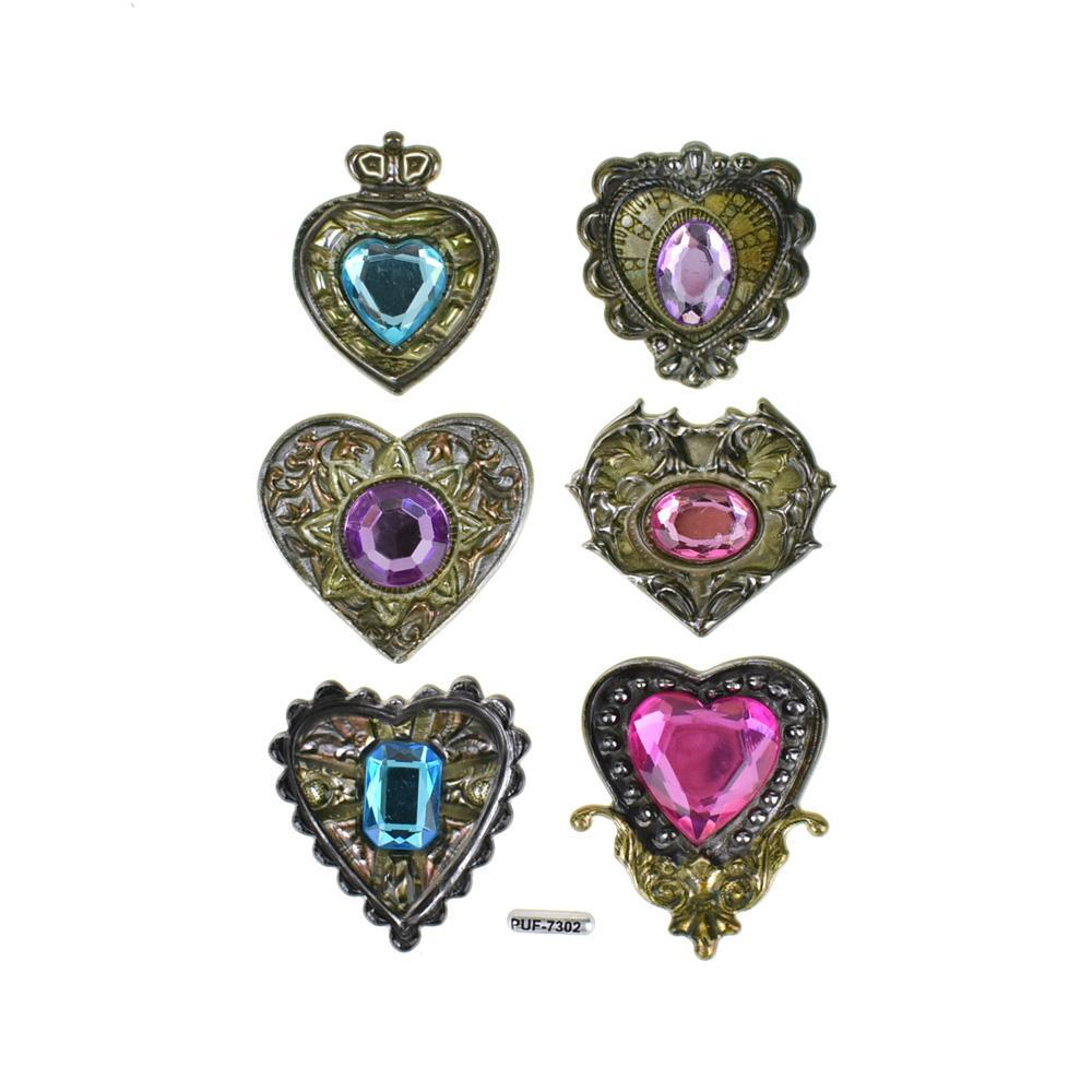 Heart Vintage Style Jewel Stickers, 6-Piece