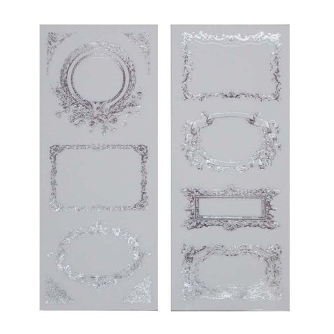 Elegant Frames Foil Stickers, Rectangle, Silver, 2-Sheets