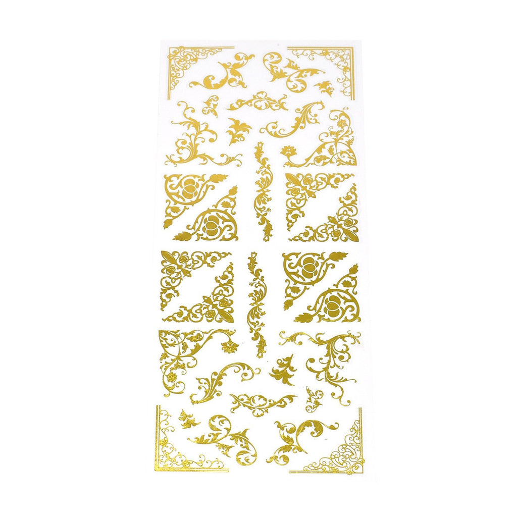 Elegant Scroll Swirl Foil Corner Stickers, 32-Piece, Gold