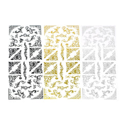Elegant Scroll Swirl Foil Corner Stickers, 32-Piece