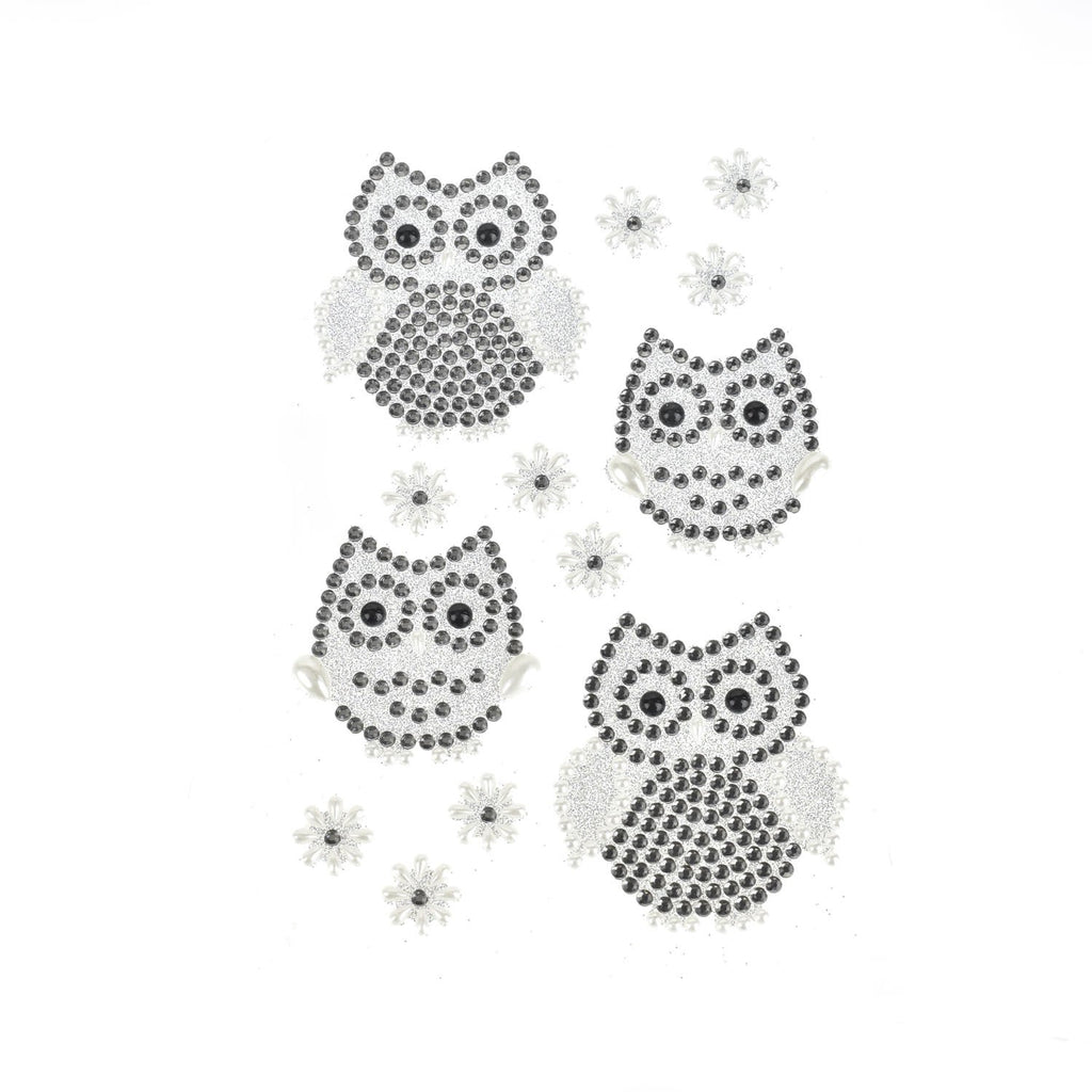 Owl and Flower Gem Art Stickers, 13-Piece, Silver
