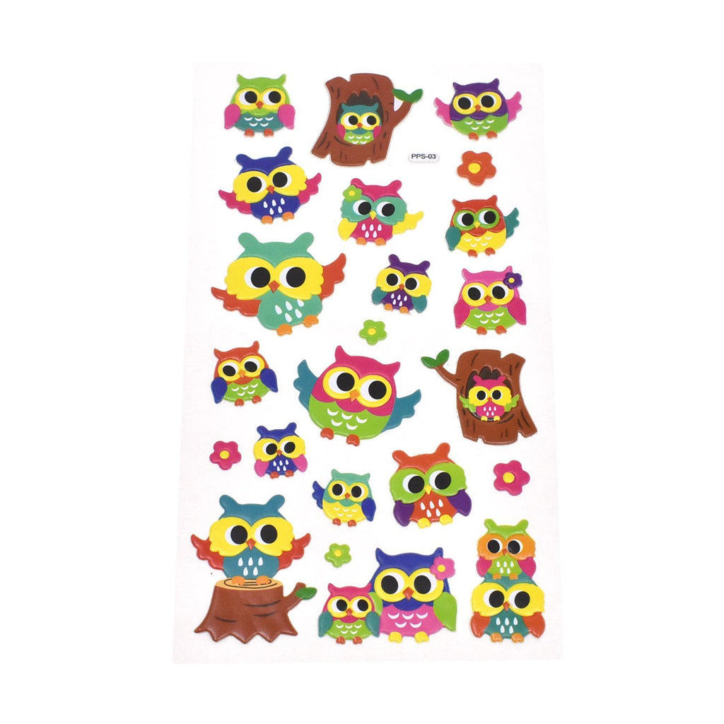 Tree Owls Puffy 3D Stickers, 23-Piece