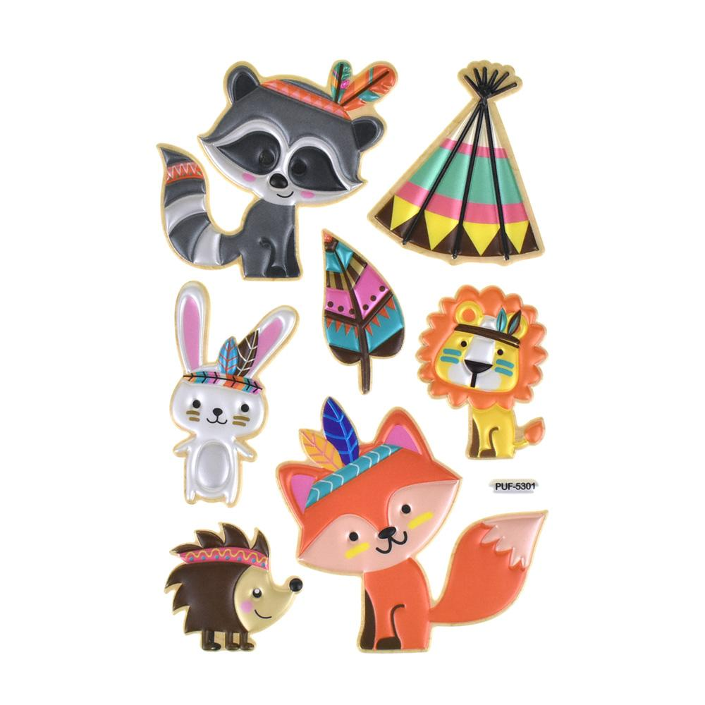 Woodland Puffy Embossed Stickers, 7-Piece