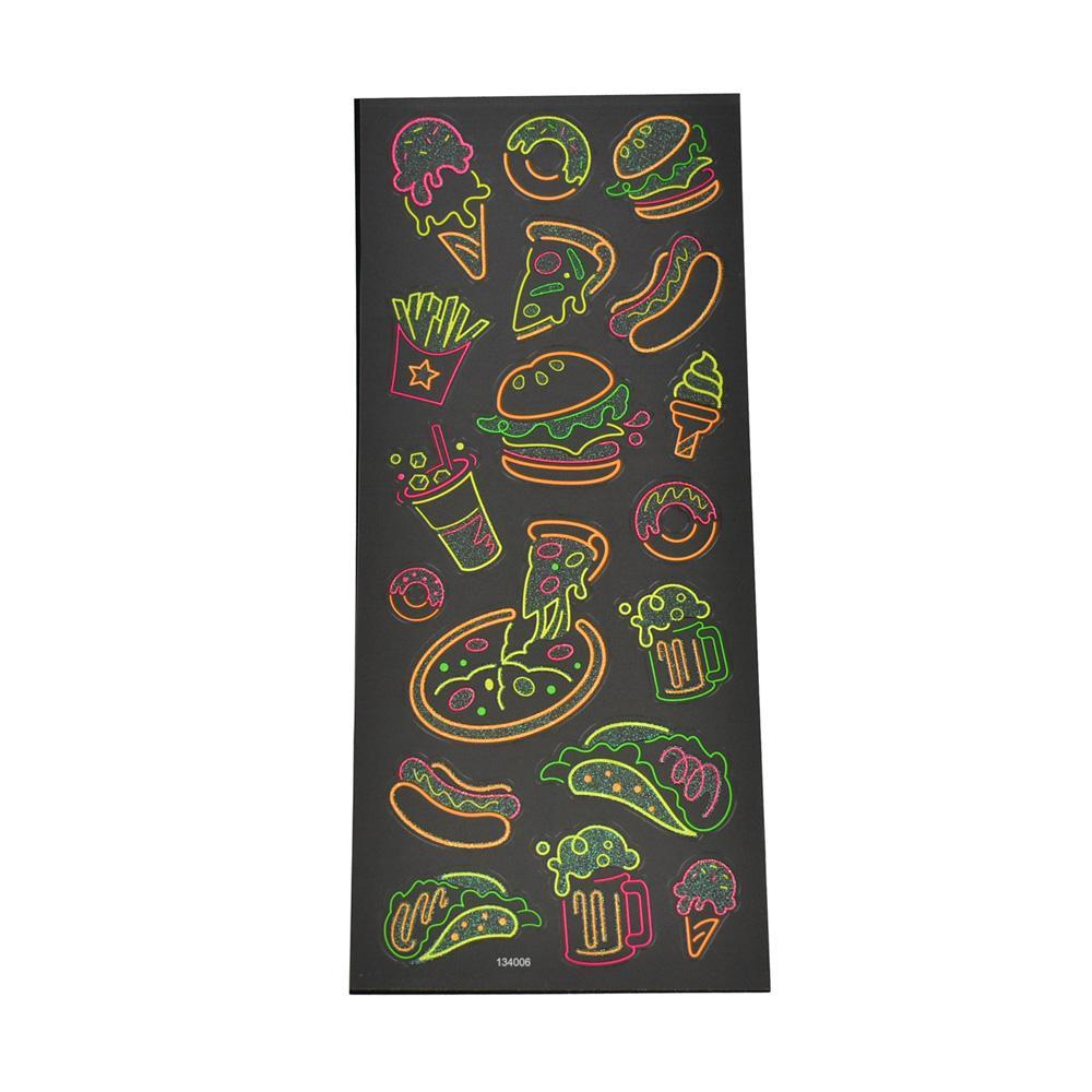 Fast Food Clear Glitter Neon Stickers, 18-Piece