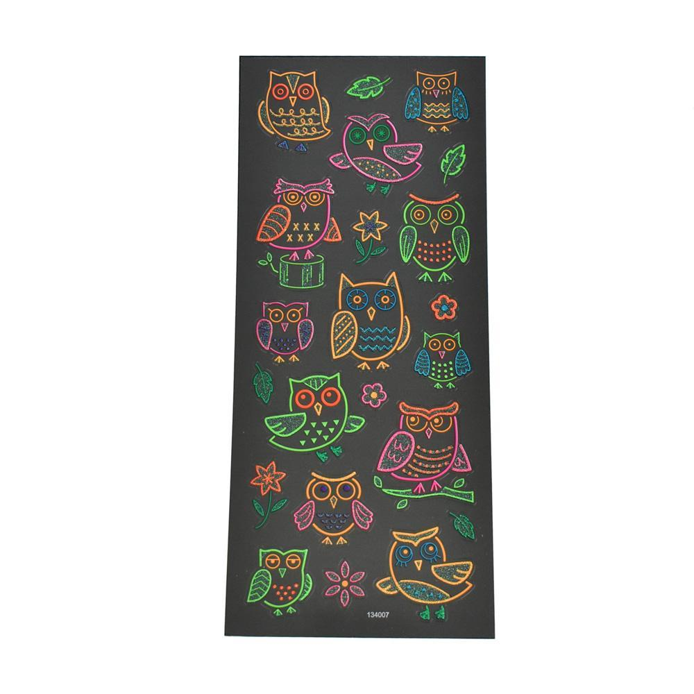 Owl Clear Glitter Neon Stickers, 22-Piece