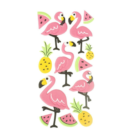 3D Flocked Puffy Flamingo Friends Stickers, 13-Piece