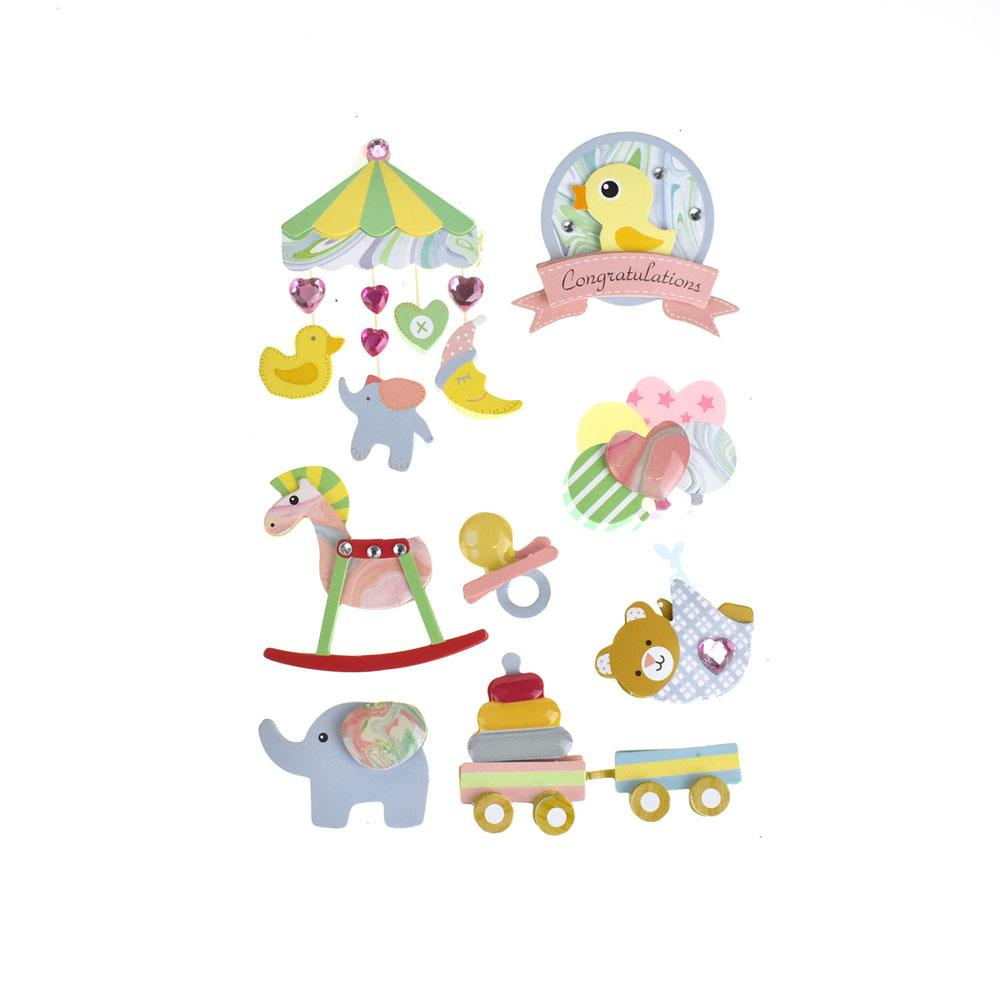 Baby Shower Bundle of Joy 3D Stickers, 7-Piece