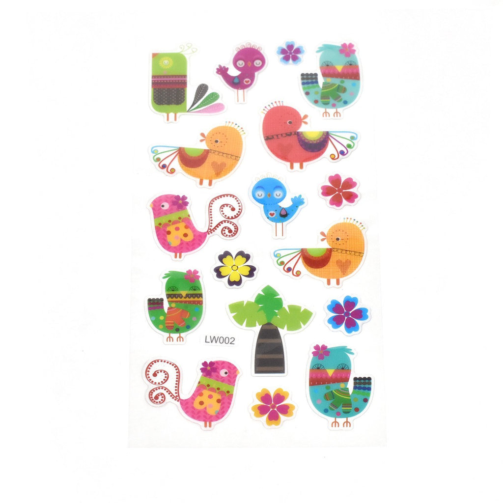 Colorful Chickadee Clear Glitter Stickers, 11-Piece