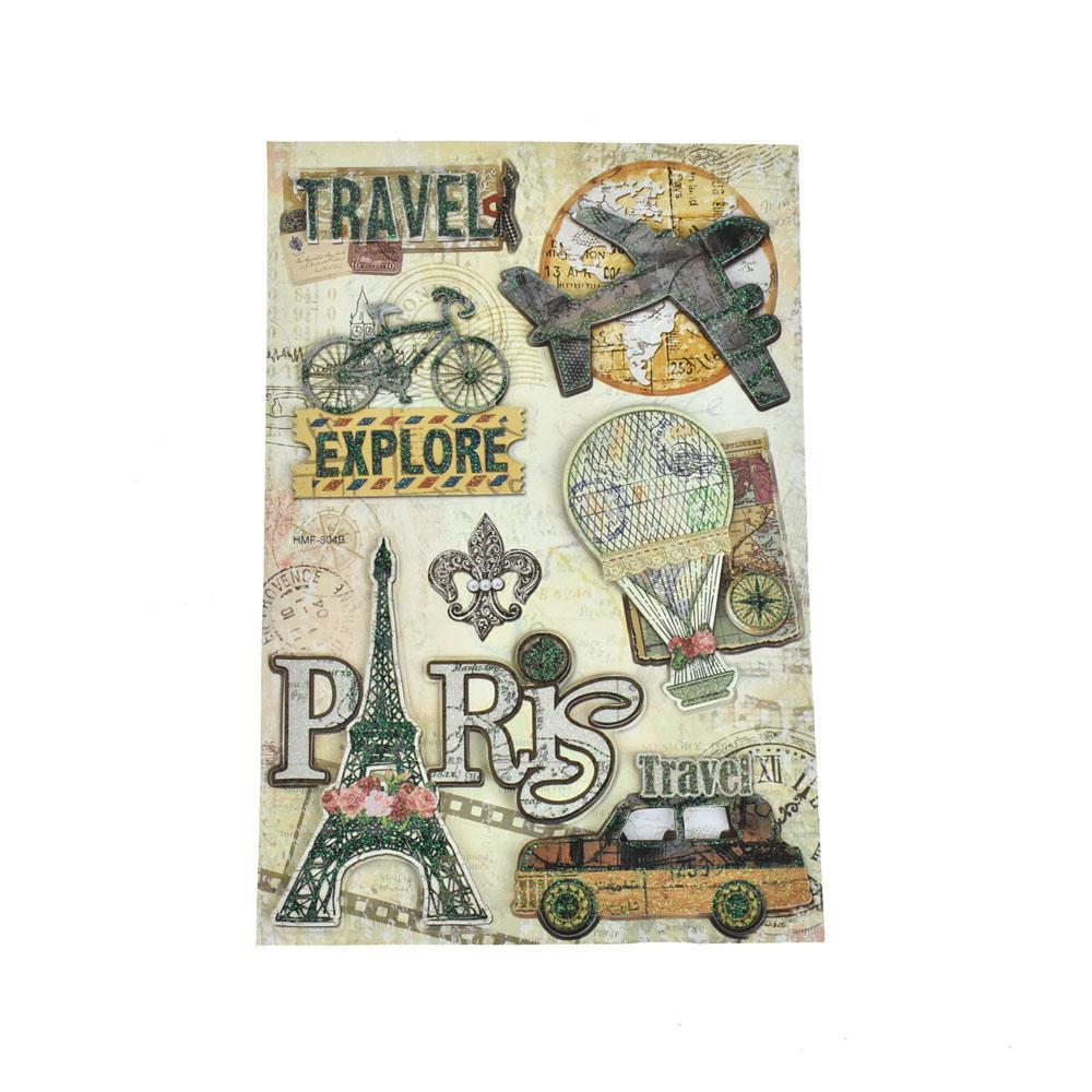 Travel Glitter Paper Craft Stickers, 7-Piece