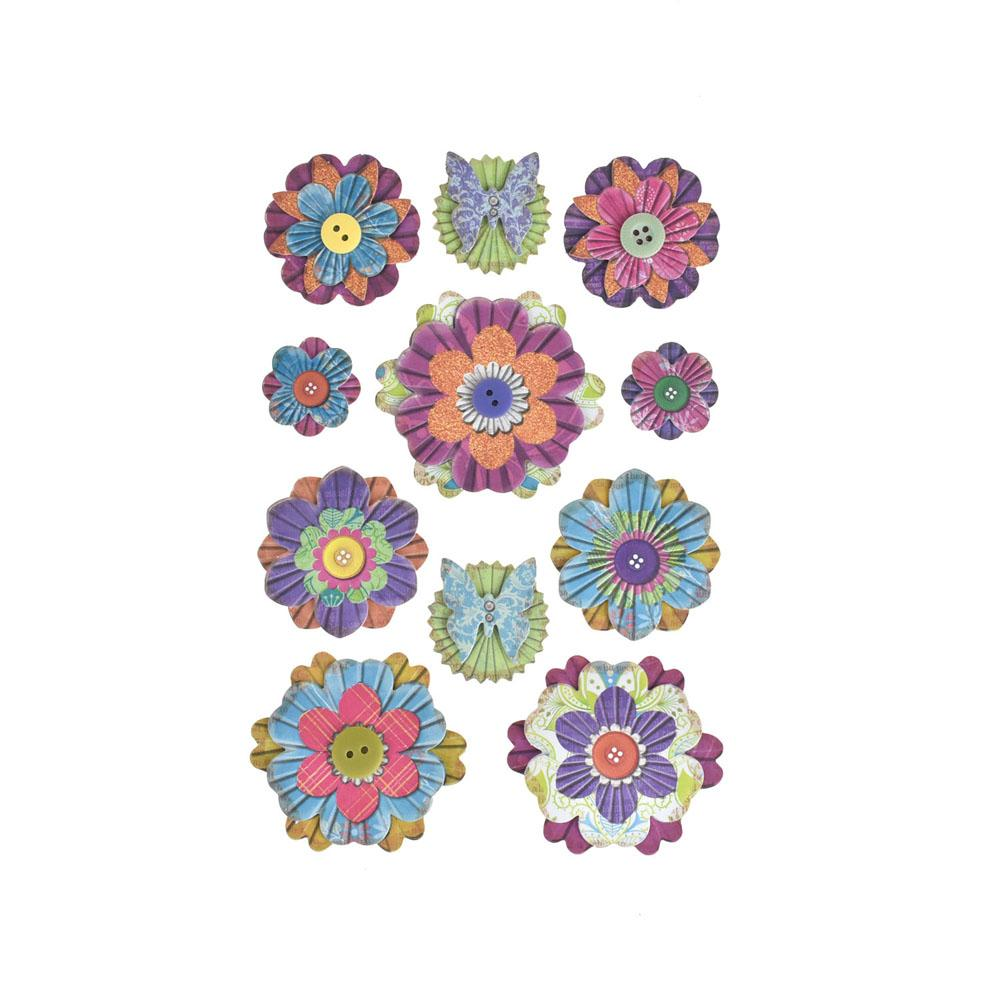 Colorful Floral 3D Paper Craft Stickers, 11-Piece