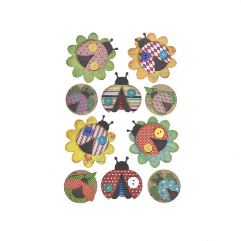 Colorful Ladybug 3D Paper Craft Stickers, 10-Piece