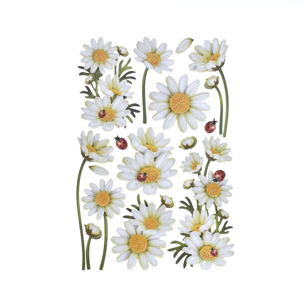 Daisies Glitter Floral 3-D Stickers, 12-Piece