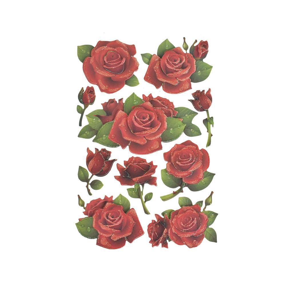 Red Roses Glitter Floral 3-D Stickers, 10-Piece