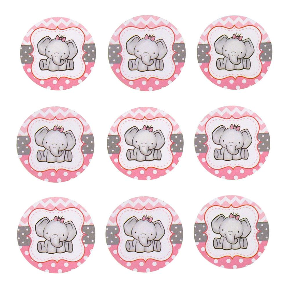 Elephant Seal Paper Stickers, Light Pink, 1-Inch, 24-Count