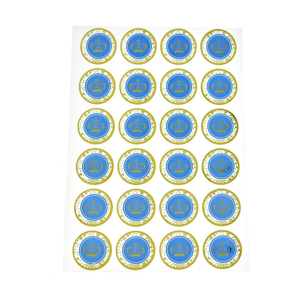 Gold Foil Prince Crown Seal Stickers, Royal Blue, 1-Inch, 24-Count