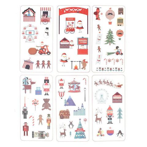 Cartoon Santa Claus Christmas Holiday Stickers, 6-Sheets