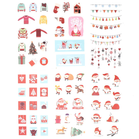 Adorable Santa Claus and Christmas Holiday Stickers, 6-Sheets