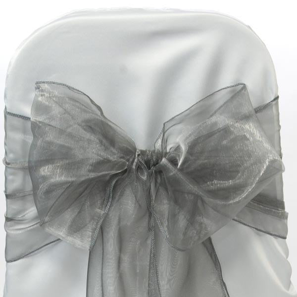 Organza Chair Bow Sash, 9-inch, 10-feet, 6-piece, Silver