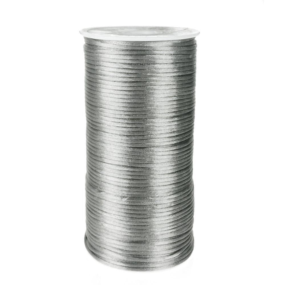 Satin Rattail Cord Chinese Knot, 1/16-Inch, 200 Yards, Silver