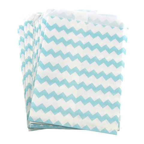 Chevron Paper Treat Bags, 7-Inch, 25-Piece, Light Blue