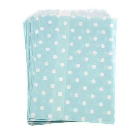 Small Dots Paper Treat Bags, 7-inch, 25-Piece, Light Blue