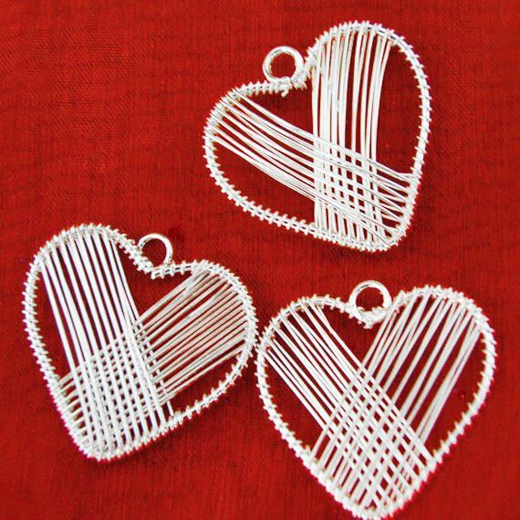 Silver Three Hearts Wire Wrapped, 1-1/2-inch, 3-Piece