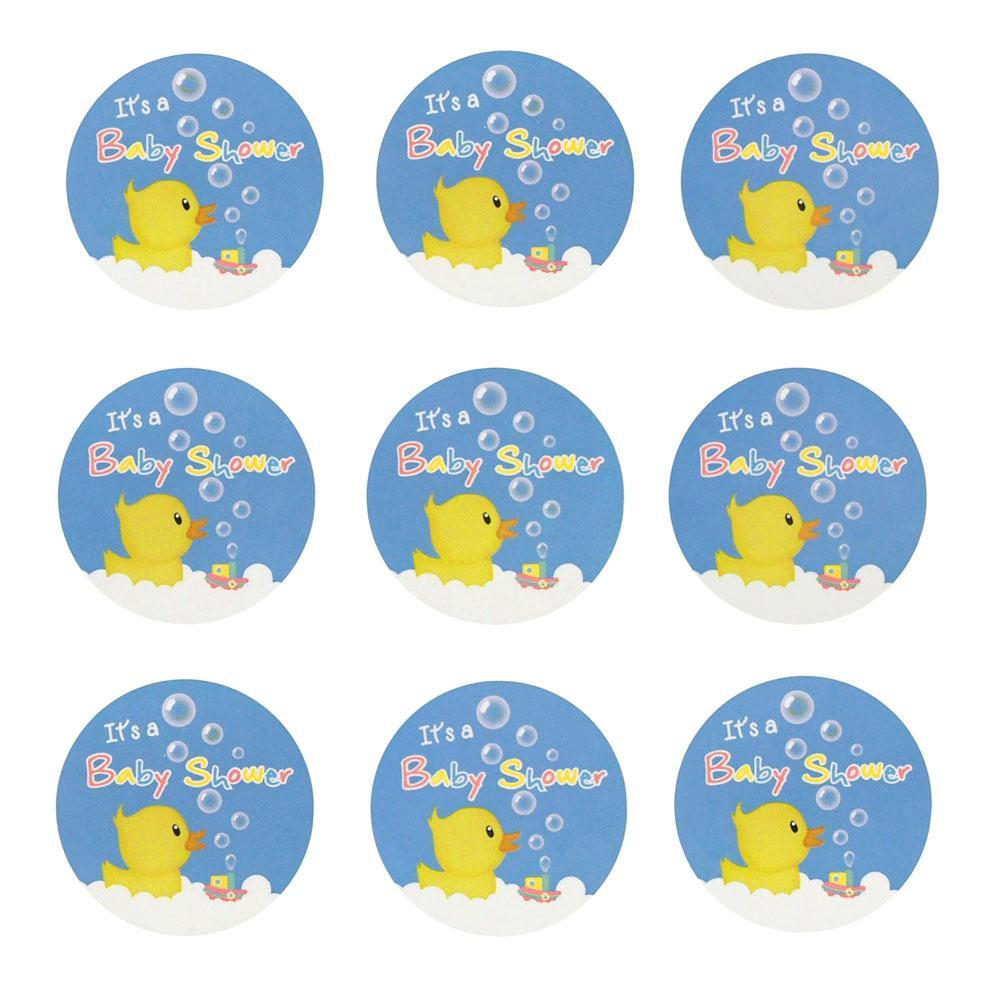 Rubber Ducky Seal Paper Stickers, Blue, 1-Inch, 24-Count