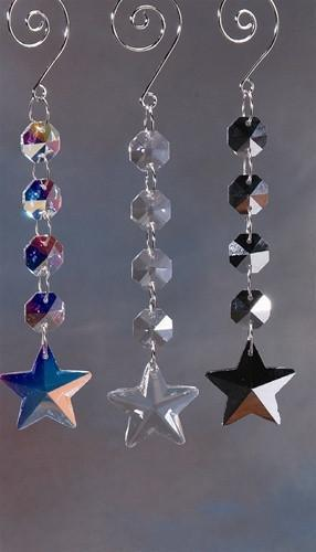 Acrylic Chandelier Crystals, Star Link, 6-Inch, Iridescent Clear