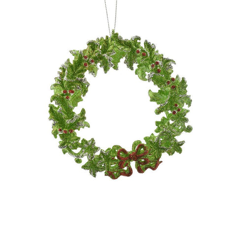 Acrylic Glittered Wreath Christmas Ornament, Green, 5-Inch