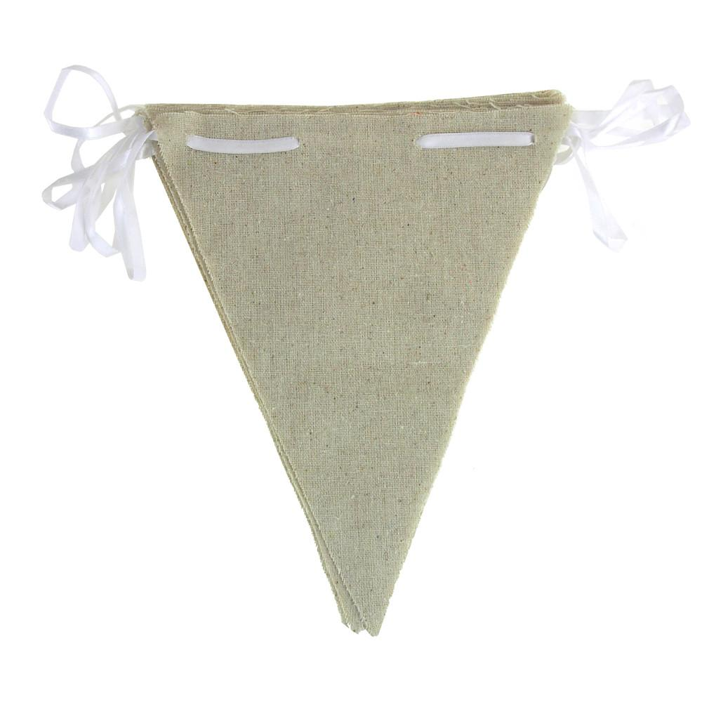Natural Linen Pennants Banner, Triangle, 10-Inch x 8-Inch, 12-Piece