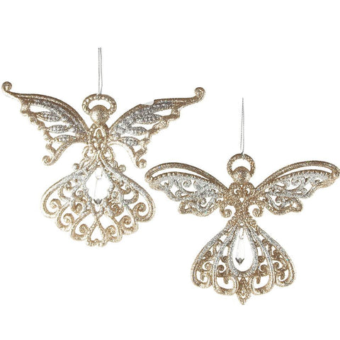 Acrylic Angel Wings Christmas Ornaments, Gold/Silver, 4-Inch, 2-Piece