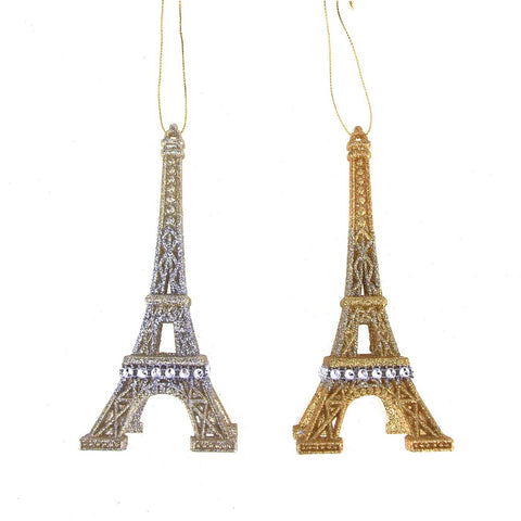 Acrylic Glittered Eiffel Tower Ornaments, Gold and Silver, 6-1/4-Inch, 2-Piece