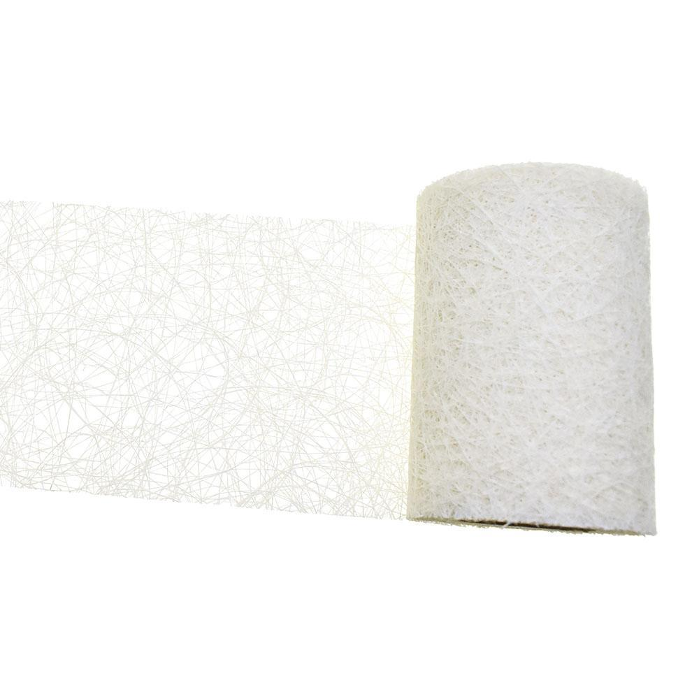 Rustic Faux Sisal Web Ribbon, Off-White, 4-Inch, 10-Yard