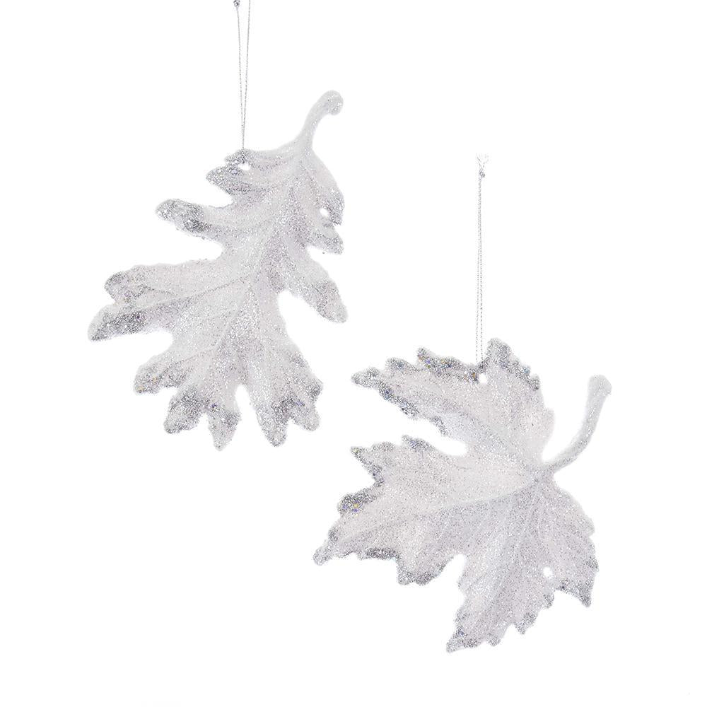 Acrylic Glitter Snowy Leaves Christmas Ornaments, White, 5-Inch, 2-Piece