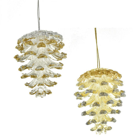 Artificial Glittered Pinecone Christmas Ornaments, Gold/Silver, 3-Inch, 2-Piece
