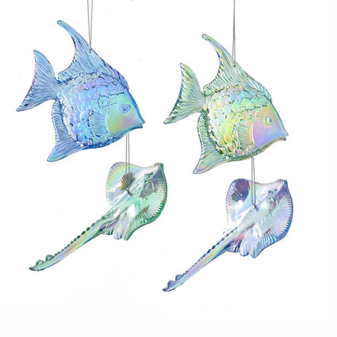 Acrylic Fish and Sting Ray Christmas Ornament, Green/Blue, Assorted Sizes, 4-Piece
