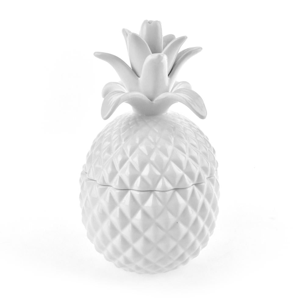 Pineapple Ceramic Cookie Jar, White, 8-Inch