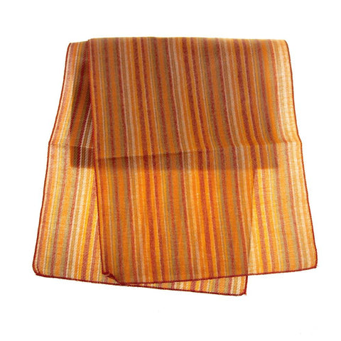Faux Jute Felt Striped Fall Holiday Table Runner, Orange, 14-Inch, 6-Feet