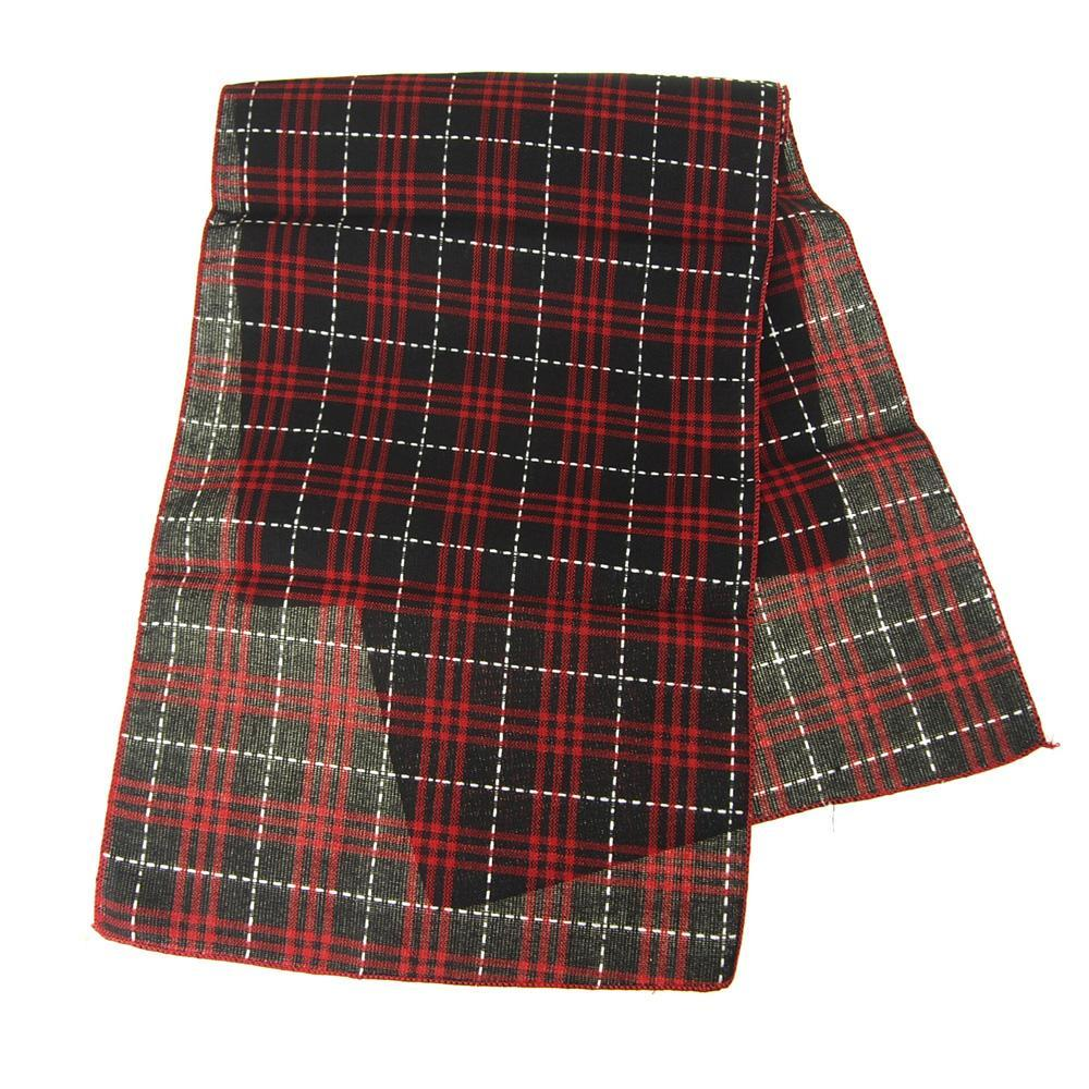 woven black and red christmas plaid table runner 14 inch 6 feet