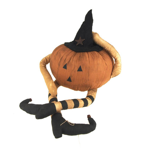 Halloween Friendly Witch Light-Up Pumpkin Doll, Orange/Black, 13-1/2-Inch