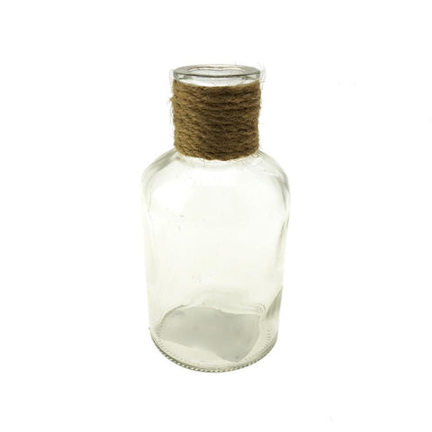 Jute Twine Glass Bottle, Clear, 4-3/4-Inch