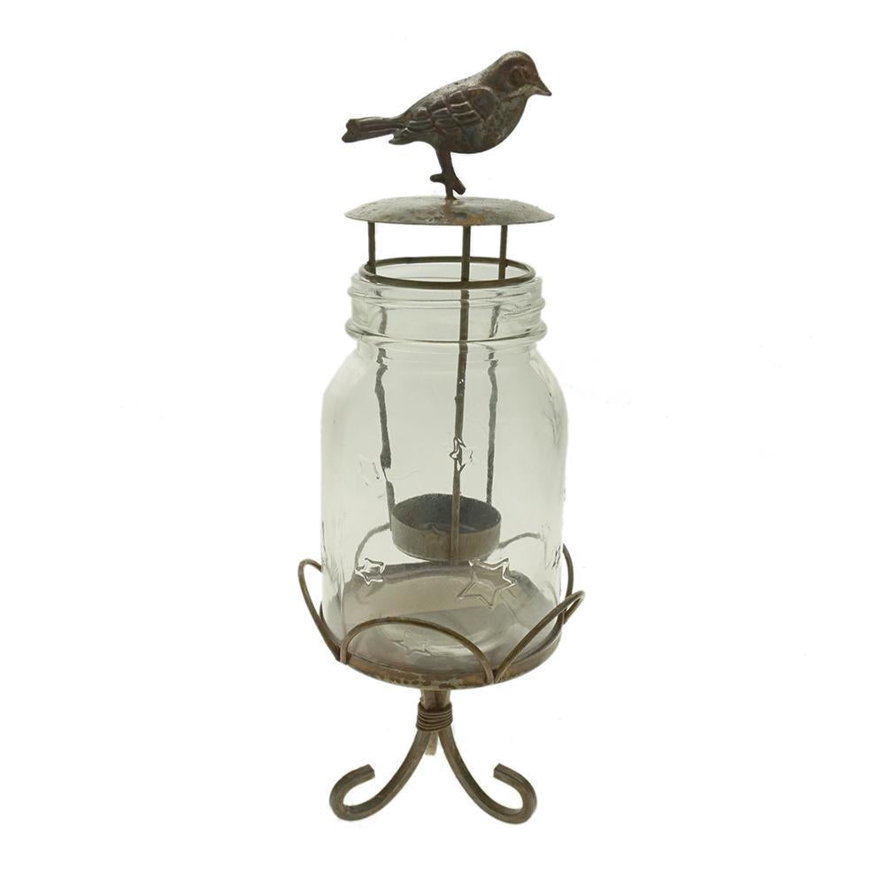 Small Mason Jar with Bird Designed Tea Light Holder and Stand, 11-1/2-Inch