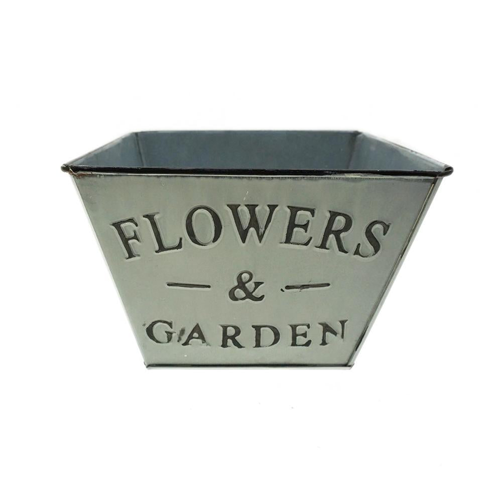 Galvanized Flower & Garden Trapezoid Planter, Whitewashed, 4-1/4-Inch